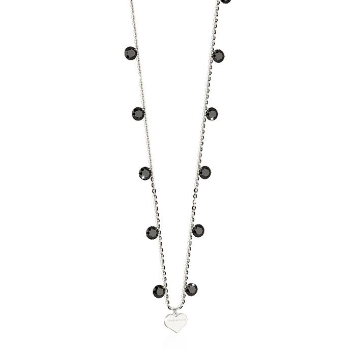 Lucciole Sterling Silver Necklace w/Black Crystals - Rebecca