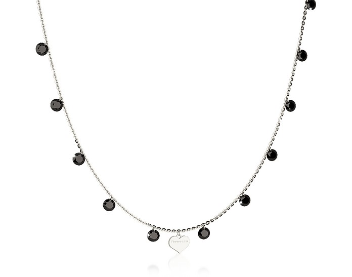 Lucciole Sterling Silver Necklace w/Black Crystals - Rebecca
