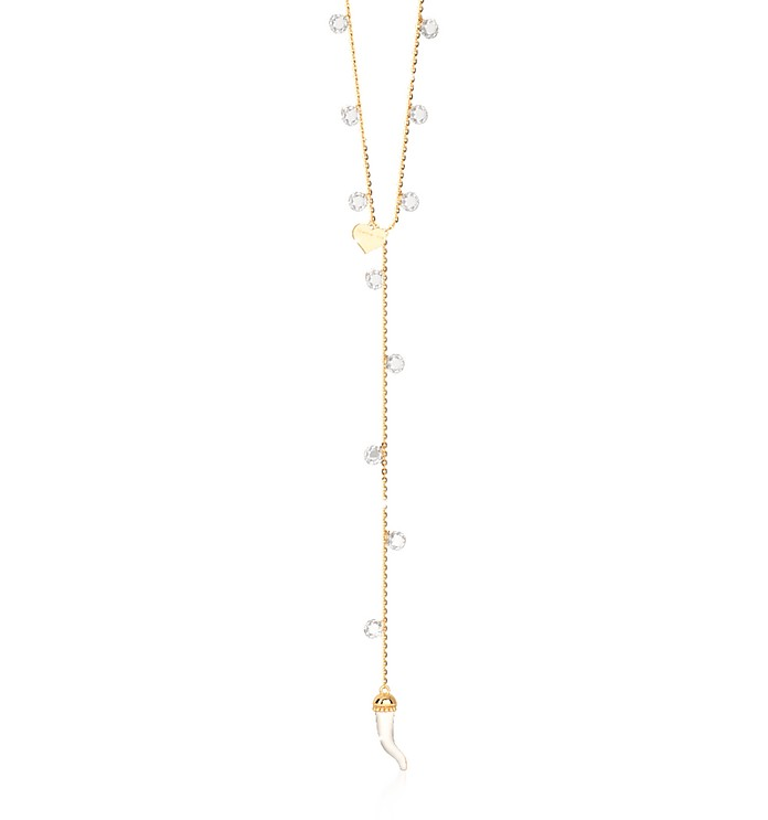 Lucciole Sterling Silver Gold Plated Necklace w/Crystals - Rebecca
