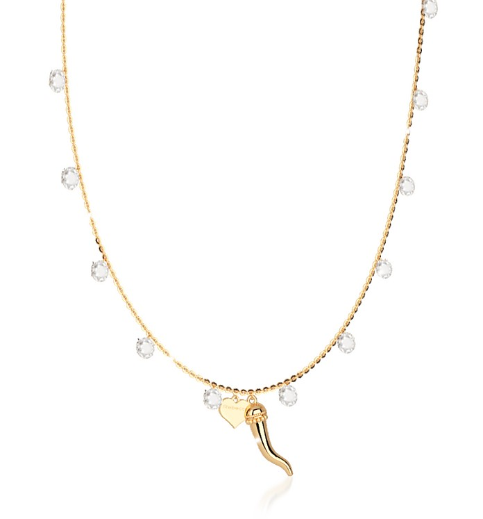 Lucciole Sterling Silver Gold Plated Necklace w/Crystals - Rebecca 蕾贝卡