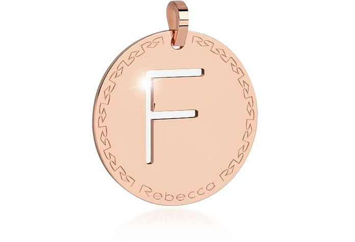 Rose Gold-plated Bronze F Charm W/Rhodium-plated Necklace - Rebecca / レベッカ