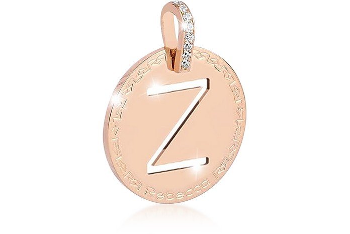 Rose Gold-plated Bronze & Zirconia Z Charm W/Stainless Steel Necklace - Rebecca