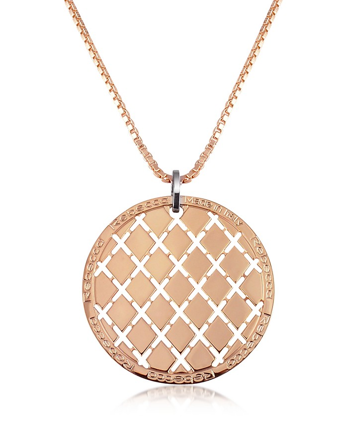 Melrose - Rose Gold Gilded Round Medium Pendant Necklace - Rebecca