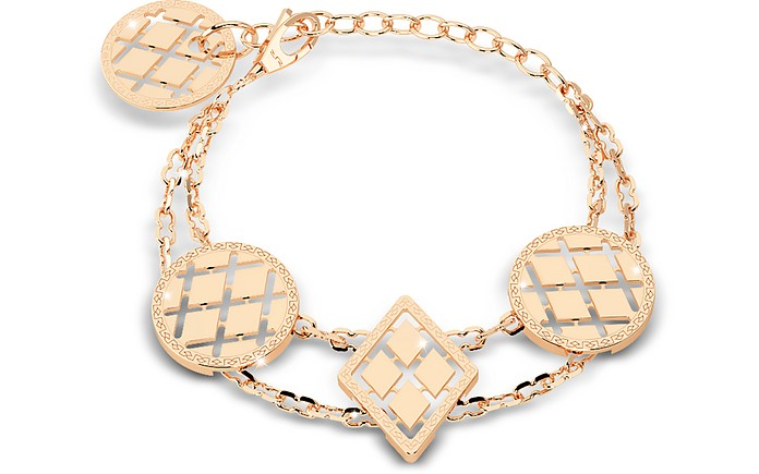 Melrose Yellow Gold Over Bronze Bracelet w/Geometric Charms - Rebecca