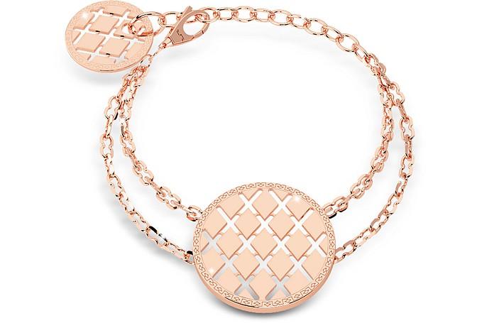 Melrose Rose Gold Over Bronze Bracelet w/Round Charms - Rebecca