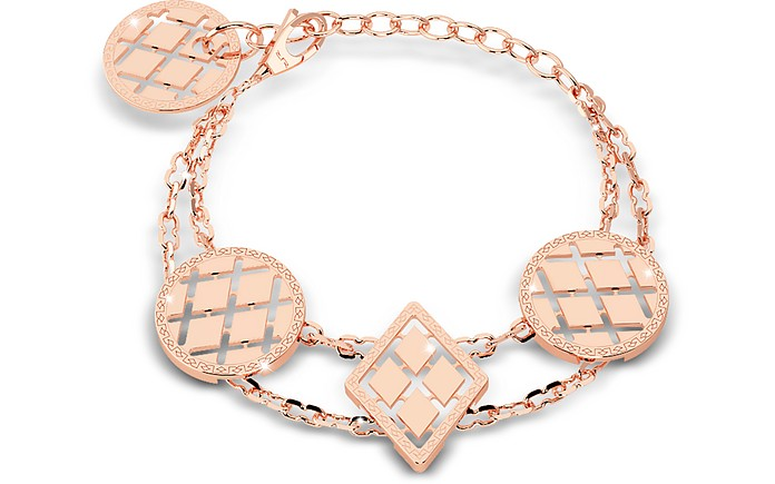 Melrose Rose Gold Over Bronze Bracelet w/Geometric Charms - Rebecca