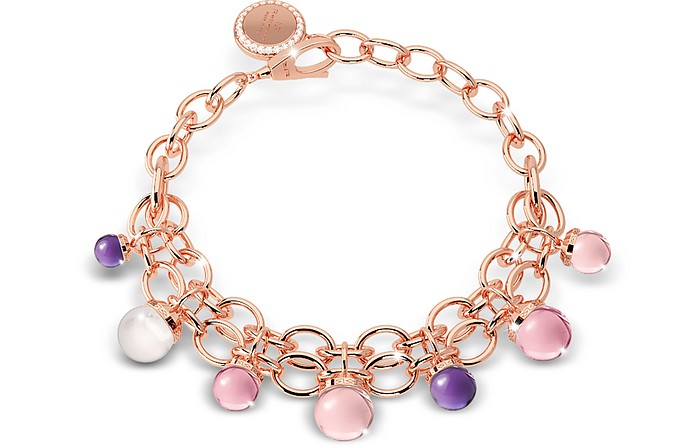 Hollywood Stone Rose Gold Over Bronze Chains Bracelet w/Hydrothermal Stones - Rebecca