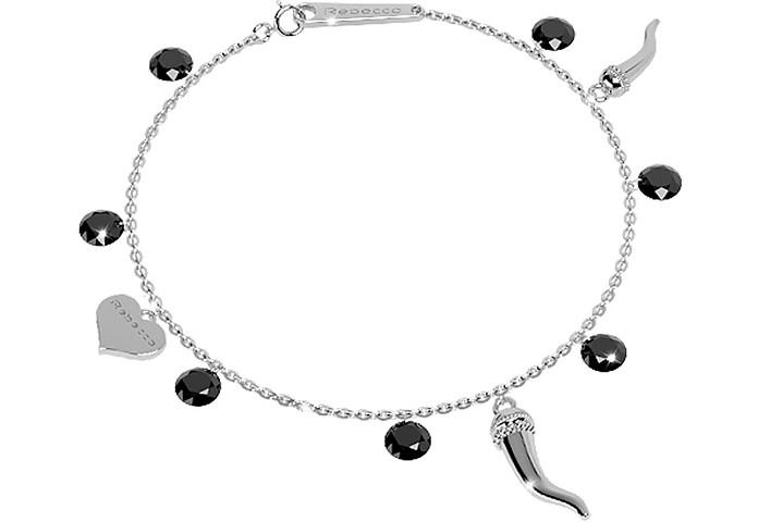 Lucciole Sterling Silver Bracelet w/Black Crystals - Rebecca