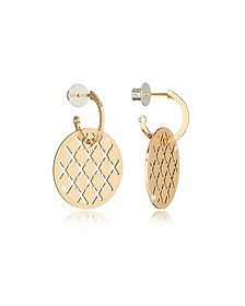Melrose Yellow Gold Over Bronze Drop Hoop Earrings - Rebecca