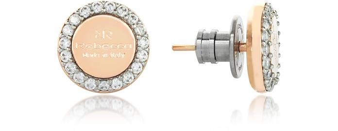 Boulevard Stone Yellow Gold Over Bronze Stud Earrings w/Stones - Rebecca