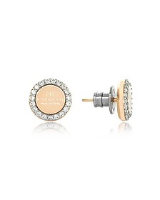 Boulevard Stone Yellow Gold Over Bronze Stud Earrings w/Stones - Rebecca