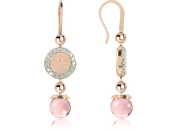Boulevard Stone Rose Gold Over Bronze Dangle Earrings w/Pink Hydrothermal Stone - Rebecca