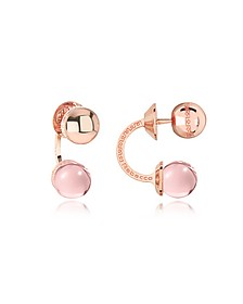 Boulevard Stone Rose Gold Over Bronze Double Ball Drop Earrings w/Pink Hydrothermal Stone - Rebecca