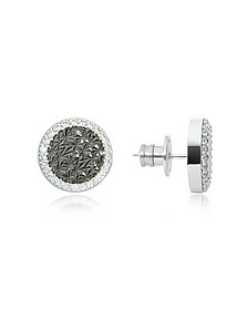 R-Zero Rhodium Over Bronze Stud Earrings w/Stones - Rebecca