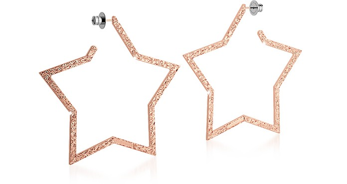 R-ZERO Rose Gold Over Bronze Star Earrings - Rebecca
