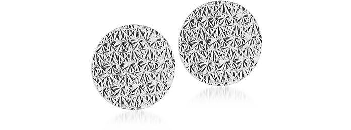 R-ZERO Rhodium Over Bronze Round Earrings - Rebecca