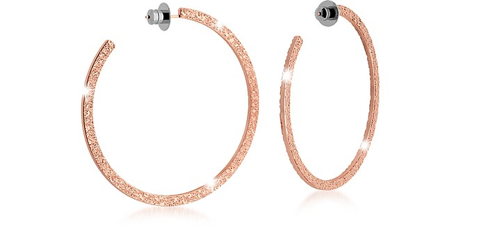R-ZERO Rose Gold Over Bronze Hoop Earrings - Rebecca