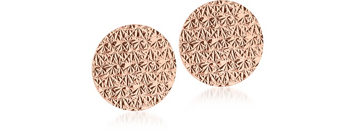 R-ZERO Rose Gold Over Bronze Round Earrings - Rebecca