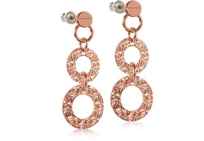 R-ZERO Rose Gold Over Bronze Long Earrings - Rebecca