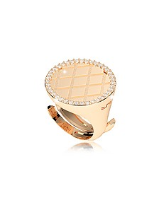 Melrose Yellow Gold Over Bronze Ring w/Cubic Zirconia - Rebecca