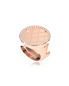 Melrose Rose Gold Over Bronze Ring w/Cubic Zirconia - Rebecca