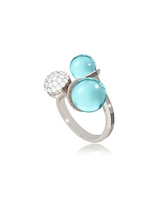 Boulevard Stone Rhodium Over Bronze Ring w/Hydrothermal Turquoise Stones and Cubic Zirconia - Rebecca