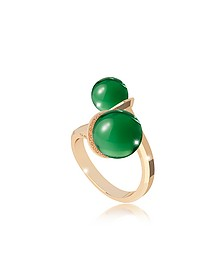 Boulevard Stone Yellow Gold Over Bronze Contrarié Ring w/Hydrothermal Green Stones - Rebecca
