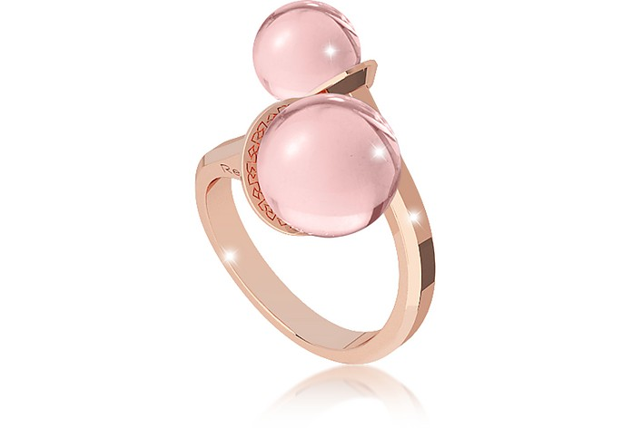 Boulevard Stone Rose Gold Over Bronze Contrarié Ring w/Hydrothermal Pink Stones - Rebecca