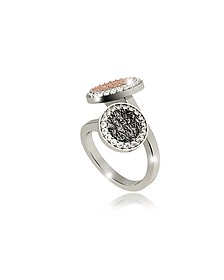 R-Zero Rhodium Over Bronze Ring w/Two Tones Stones - Rebecca