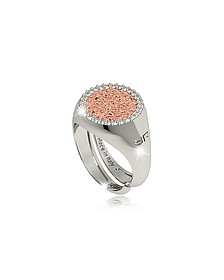 R-Zero Rhodium Over Bronze Rose Ring w/Stones - Rebecca