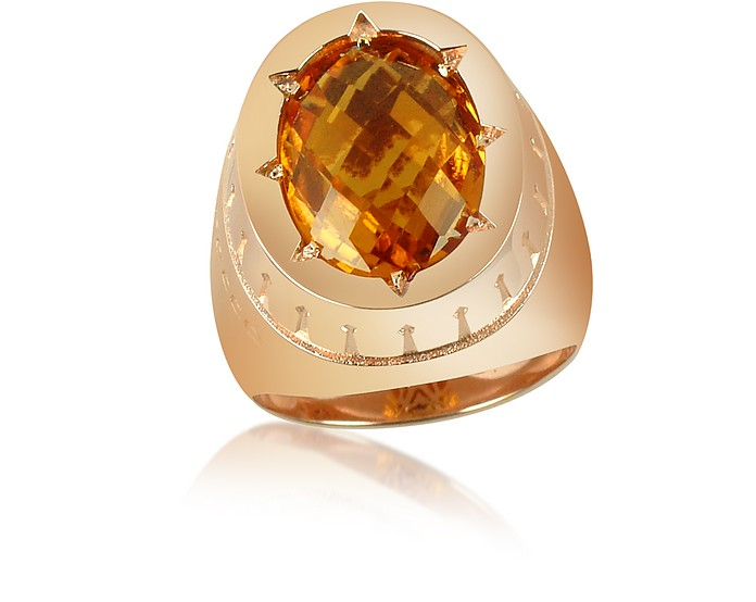 Tropezienne - Oval Amber Gemstone Ring - Rebecca