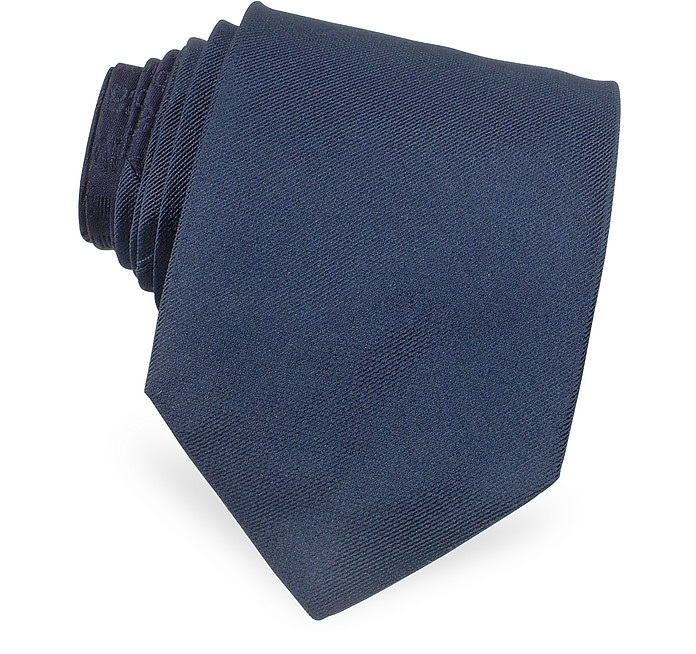 Solid Narrow Woven Silk Tie  - Roberto Cavalli
