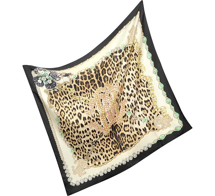 Black Border Signature Leopard Print Silk Square Scarf - Roberto Cavalli