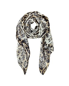 Lace and Animal Print Twill Silk Square Scarf