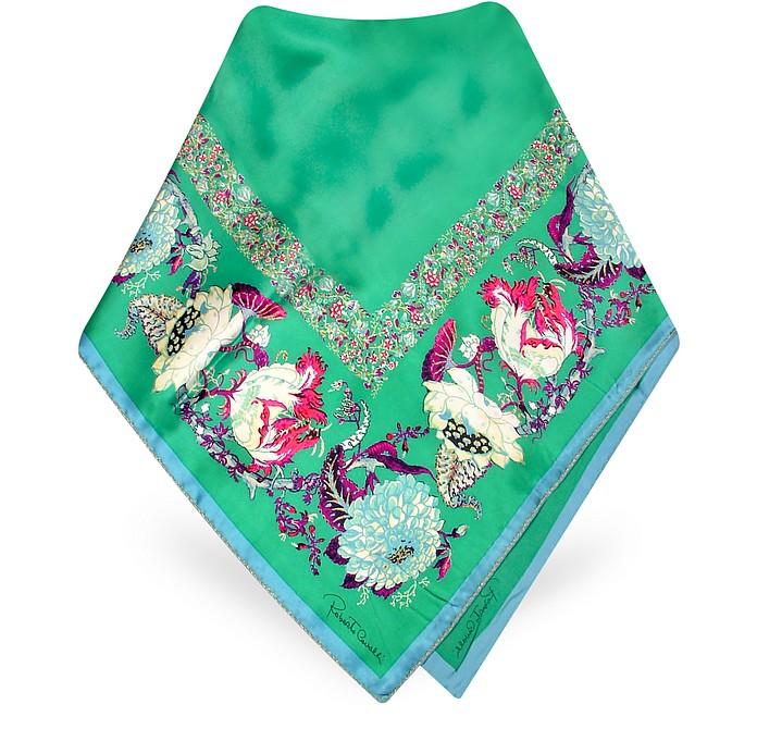 Antique Floral Print Signature Square Silk Scarf - Roberto Cavalli