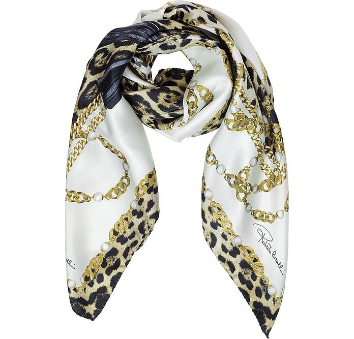 Jewels and Animal Print Silk Square Scarf - Roberto Cavalli