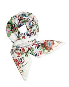 Signature Logo and Floral Print Silk Square Scarf - Roberto Cavalli
