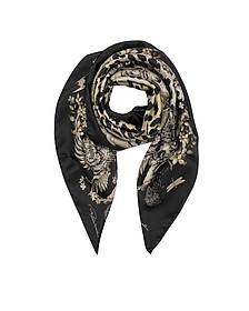 Natural Black Pattern and Leopard Print Silk Square Scarf - Roberto Cavalli