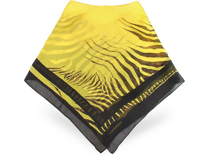 Yellow & Black Animal Print Silk Chiffon Square Scarf - Roberto Cavalli