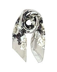 Floral Print Twill Silk Square Scarf