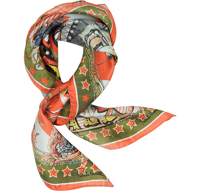 Circus and Star Print Silk Square Scarf - Roberto Cavalli