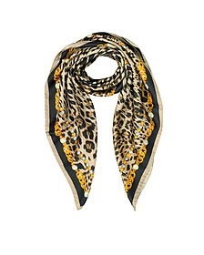 RC Icon Animal Print Pure Silk Square Scarf - Roberto Cavalli