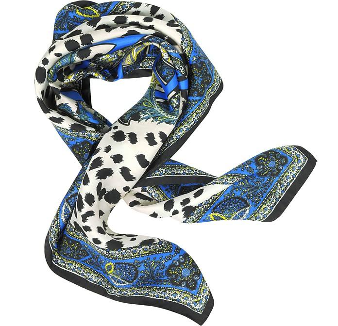 Snake Icon Animal Printed Square Scarf - Roberto Cavalli