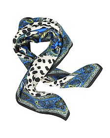 Snake Icon Animal Printed Square Scarf - Roberto Cavalli