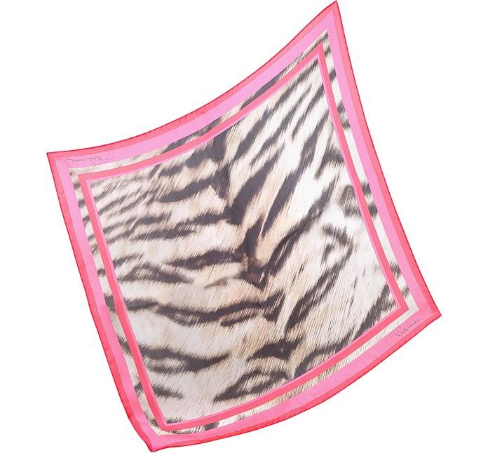 Signature Zebra Print Silk Square Scarf - Roberto Cavalli