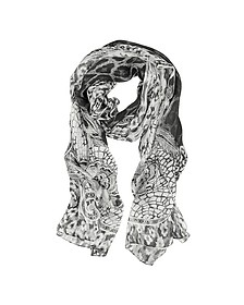 Black and White Lace with Animal Print Silk Stole