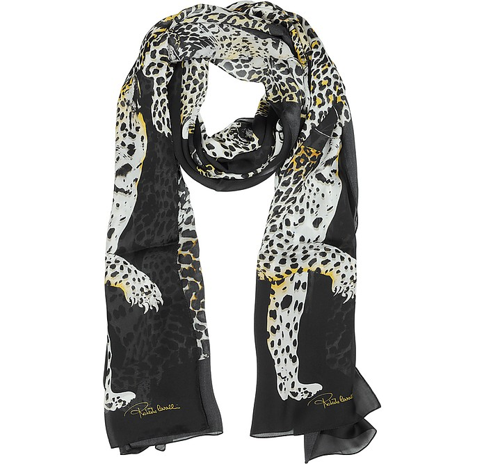 the latest f6b5f 5f3fa Roberto Cavalli Leopard Print Silk Stole