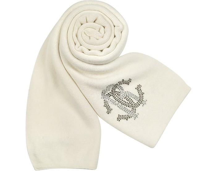 Jeweled Logo Knit Long Scarf - Roberto Cavalli