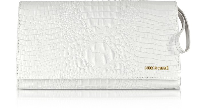 Graphic Caiman Leather Clutch - Roberto Cavalli