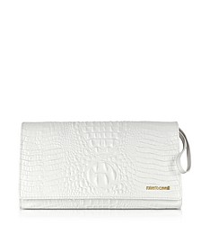 Graphic Caiman Leather Clutch